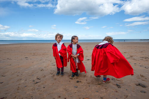 Fresh 'graduates' from the University of St Andrews Nursery on East Sands