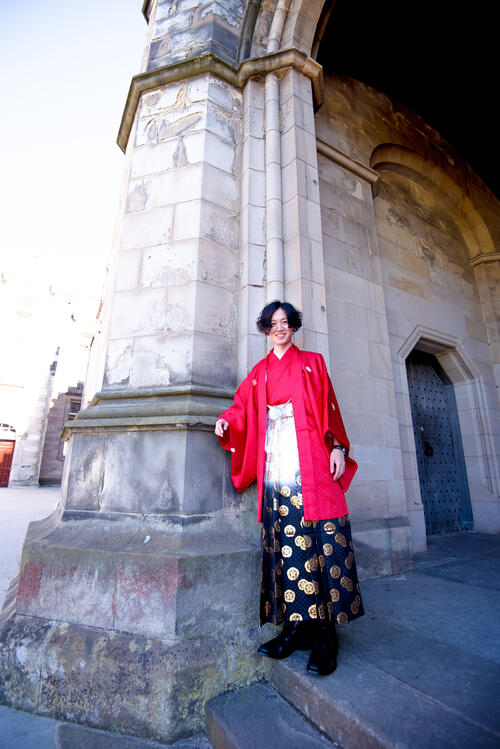 Graduate in traditional dress from Japan on Graduation Day at the University of St Andrews