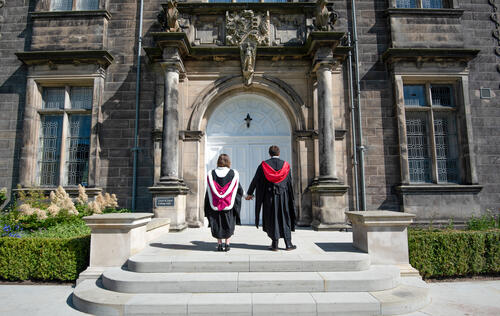 Graduating couple from the University of St Andrews