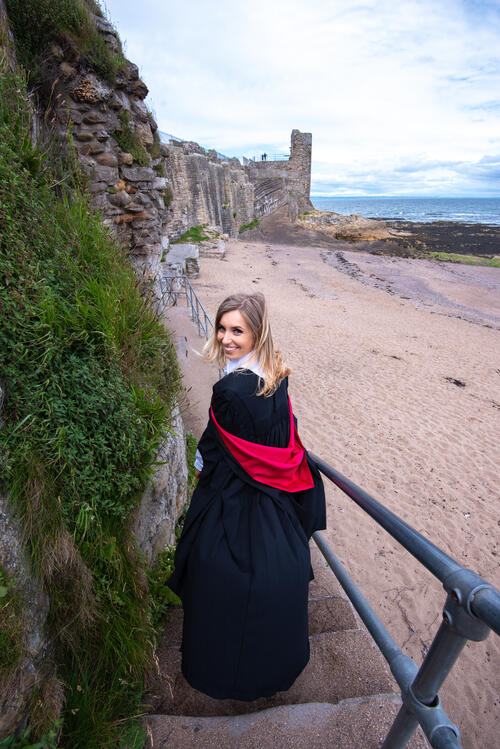 Fresh Graduate from the University of St Andrews on Castle Sands