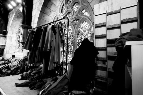 'Backstage' in the organ loft of St Salvator's Chapel during Graduation at the University of St Andrews