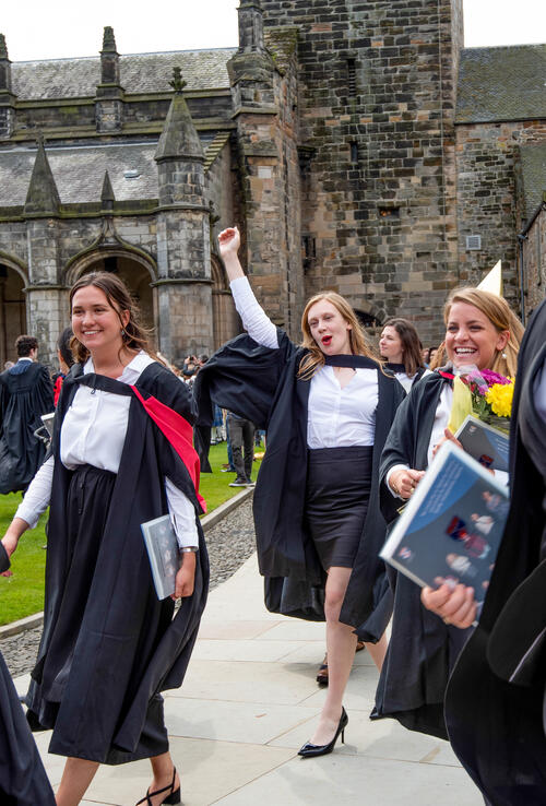 Graduate celebrating after Graduation from the University of St Andrews