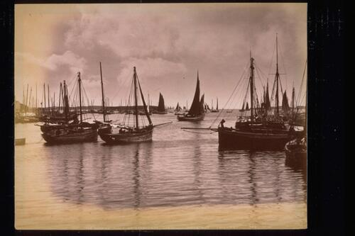 The Herring Fleet at Stornoway, Lewis. going out (evening).