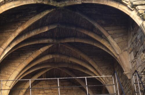 Fine vaulting in the ruins of Culross Abbey.