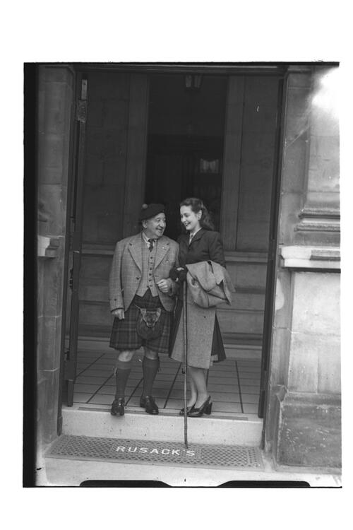 P Roc and W Fyffe [at the entrance to Rusacks Hotel, North Street] St Andrews.