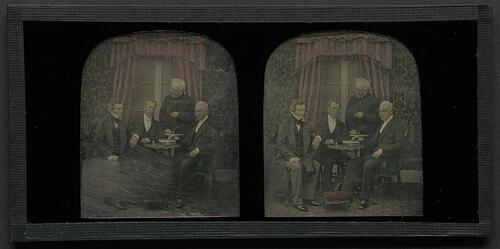 Group of four men [J D Forbes, Rev William Brown, Hugh Lyon Playfair, and Dr. George Buist]