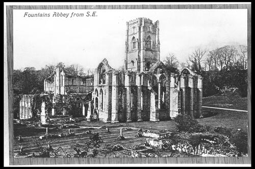 Fountains Abbey from south east.