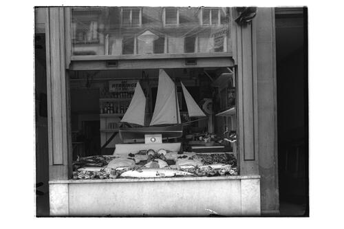 Coronation Windows - Gordon's Fishmongers, view of the window, Market Street, St Andrews.