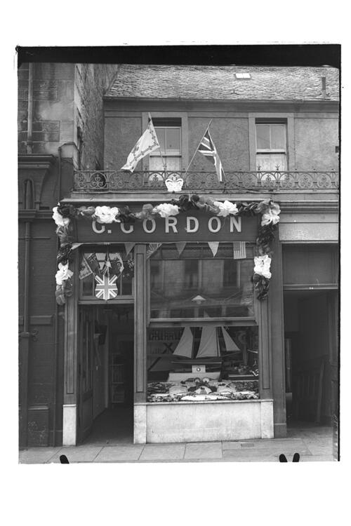 Coronation Windows - Gordon's Fishmongers, view of the building, Market Street, St Andrews.