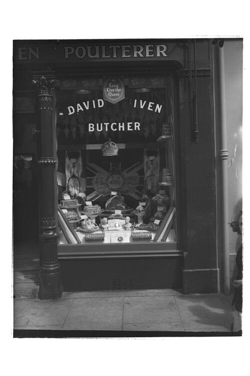 Coronation Windows - David Iven, Butchers, Church Street, St Andrews.