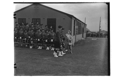 The Queen Mother talks to officers of the 2nd Battalion, Black Watch, Crail Camp