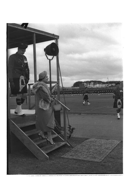 The Queen Mother steps down from the parade viewing platform during her visit to the 2nd Battalion, Black Watch, Crail Camp.