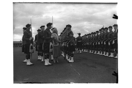 The Queen Mother inspects the troups during her visit to the 2nd Battalion, Black Watch, Crail Camp.