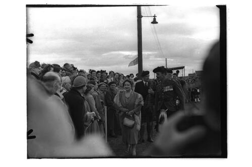 The Queen Mother meets the familes of the 2nd Battalion, Black Watch, Crail Camp..
