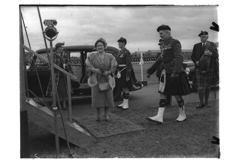 The Queen Mother arrives at Crail Camp as she visits the 2nd Battalion, Black Watch.