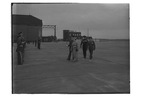 The Queen begins inpecting the airmen during her visit to RAF Leuchars.