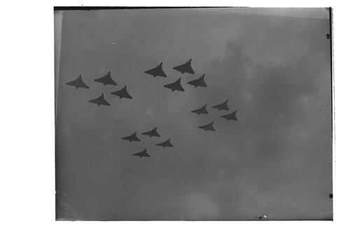 Planes fly in formation during the Queen's visit to RAF Leuchars.