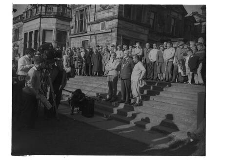 Henry Cotton v Gene Sarazen [& the Provost]; golf match for TV [St Andrews]. On the steps before the Royal and Ancient Golf Clubhouse.
