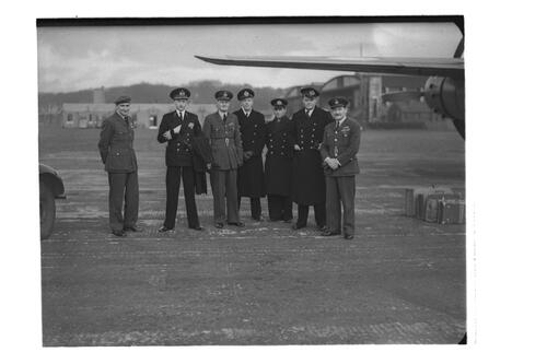 Admiral S Schaper and officers, RAF Leuchars.