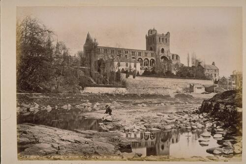 Jedburgh Abbey from the river.