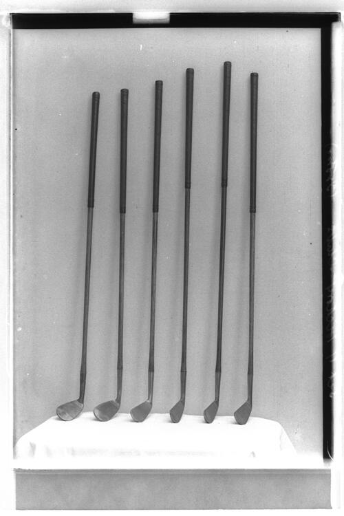 Set of hickory golf clubs.