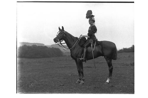 Mr Harry Gilmour, in full dress [uniform of the 16th Lancers] on Mogul [?Montrave].