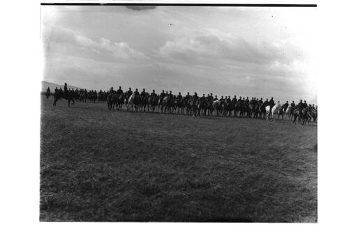 Fofar [?Fife and Forfar Yeomanry], single file.