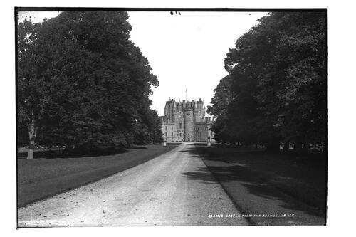 Glamis Castle from the avenue.