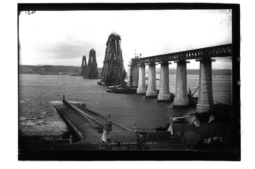 The Forth Bridge from south, May 1888.
