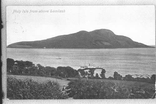 Holy Isle from above Lamlash.