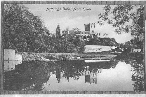 Jedburgh Abbey from river.