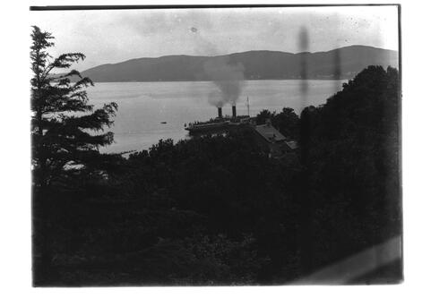 Chalet and steamer [Tighnabruaich].