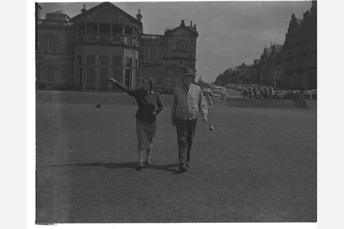 The Prime Minister (Harold Macmillan) at golf, the Old Course, St Andrews.