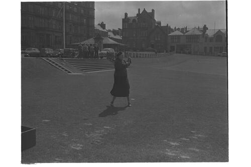 Lady Dorothy Macmillan at golf, the Old Course, St Andrews.
