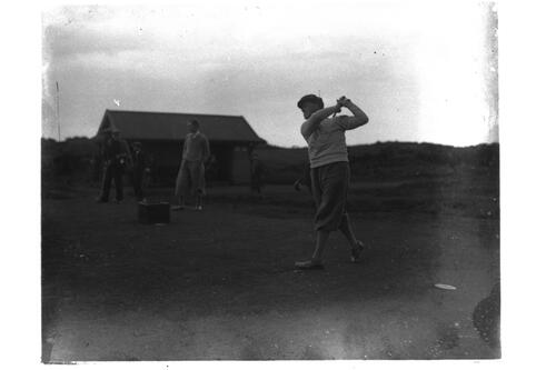 Eric McRurie drives off from tee at St Andrews.