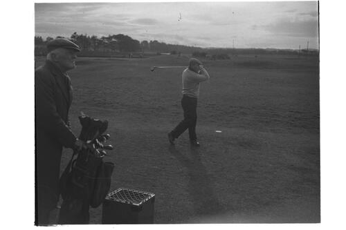 Dr Hilgard Muller and Caddie, The Old Course, St Andrews.