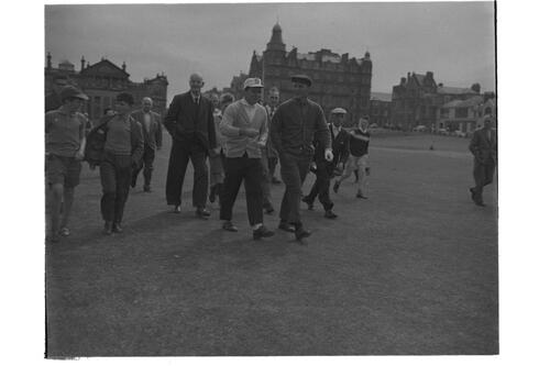 Gary Player and Guy Gillespie and golf partner on the 1st fairway, Old Course, St Andrews.