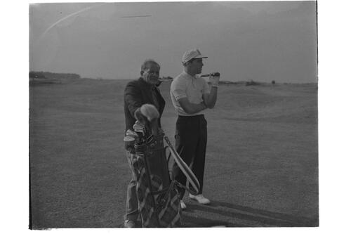 Gary Player and Guy Gillespie on the Old Course, St Andrews.