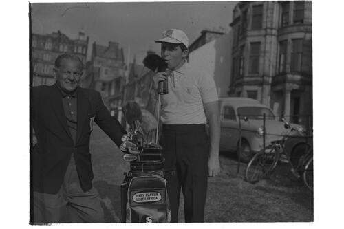 Gary Player and Guy Gillespie on the 18th fairway, Old Course, St Andrews.