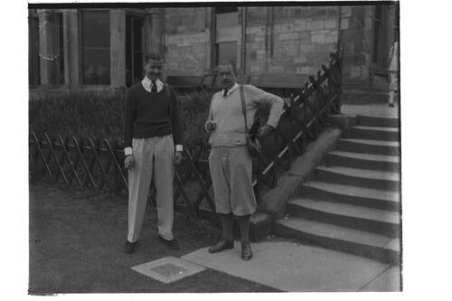Colnel Skene and Mr Donald Skene at the steps beside the Royal and Ancient Golf Clubhouse, St Andrews.