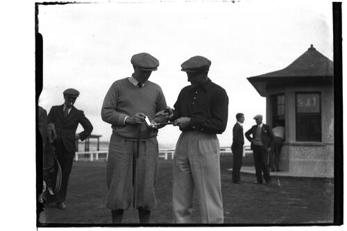 Jack McLean and J.N.Smith (?) near the Starters Hut, British Amateur Golf Championships, 1936, St Andrews.