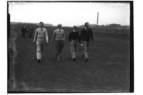 Hector Thomson, Jack McLean, AGL Lowe and Jim Ferrier (Australia) walking down the Old Course, British Amateur Golf Championships, 1936, St Andrews.