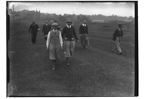 Hon. Michael Scott and Lionel Mann walking down the Old Course, British Amateur Golf Championships, 1936, St Andrews.
