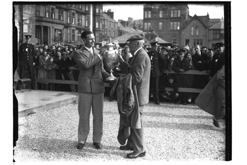 Hector Thomson with the Amateur Trophy, British Amateur Golf Championships, 1936, St Andrews.