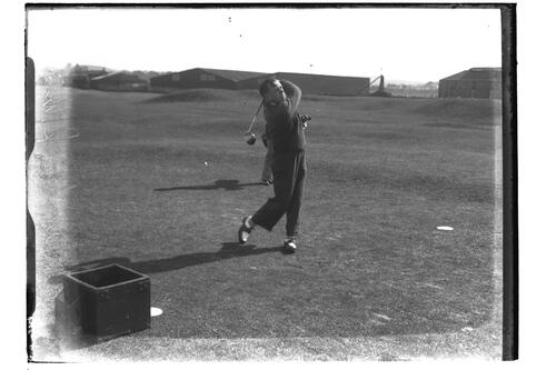 E.W. Hamilton driving on the Old Course, British Amateur Golf Championships, 1936, St Andrews.