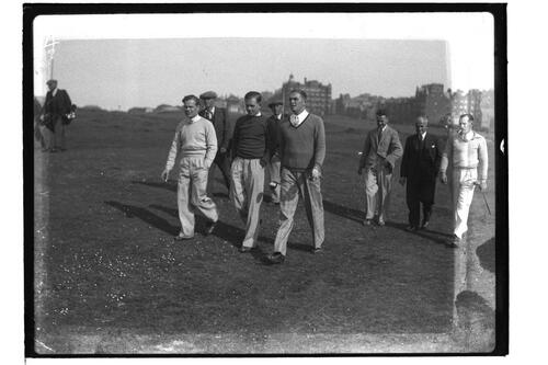 ?McLean, Hector Thomson, centre, and Jim Ferrier (Australia), right, wlkaing down the Old Course, British Amateur Golf Championships, 1936, St Andrews.