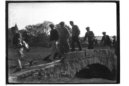 ?, Terry and ? crossing the Swilken bridge on the Old Course, British Amateur Golf Championships, 1936, St Andrews.
