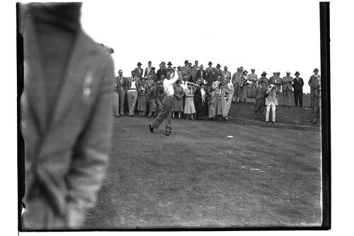 Golfer teeing off on the Old Course, British Amateur Golf Championships, 1936, St Andrews.
