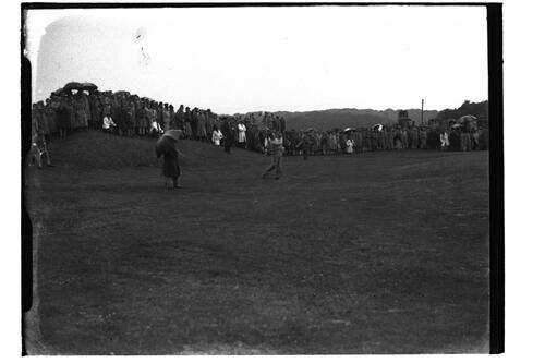 Golfer tees off on the Old Course, British Amateur Golf Championships, 1936, St Andrews.