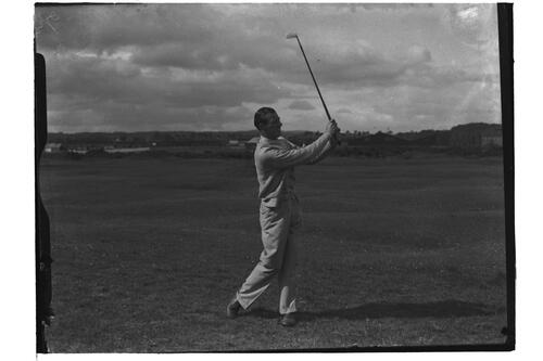 J Morton Dykes (Troon) driving down fairway, British Amateur Golf Championships, 1936, St Andrews.
